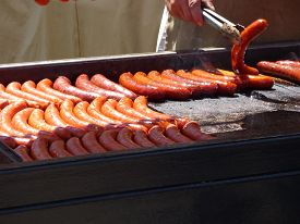 pic of charcoal  - Grilled sausages on barbecue grill with charcoal - JPG