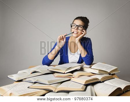 Student Thinking Open Books, Pondering Girl In Glasses Learning Exam, Studying Woman Looking Up