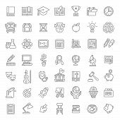 Flat Line Art School Subjects Icons poster