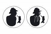Постер, плакат: Detective pipe smoker silhouette Sherlock Holmes
