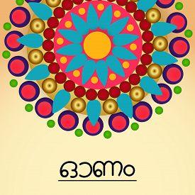 stock photo of pookolam  - illustration of a colorful background for Onam celebration - JPG