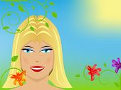 Close up of blond girl, flowers and sky in the background