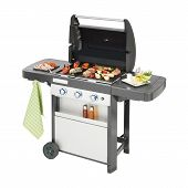 Bbq Grill Isolated On White Background. Barbecue Gas Grill With Food. Stainless Steel And Black Bbq poster