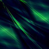 Green fantasy rays on dark background