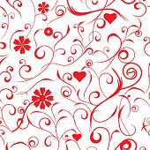 Seamless floral red valentine background