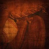 Old faded background rendering of a baseball and mitt.