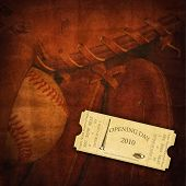 Opening Season 2010 Ticket on Baseball Background