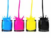 cmyk paint in glass vessel