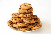 pic of chocolate-chip  - Plate of chocolate chip cookies isolated on white - JPG