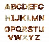 Alphabet - letters from rusty metal with rivets. Isolated on white background. 3d render poster