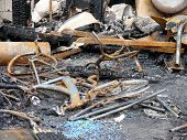stock photo of mayhem  - Remains of a Virginia Beach house fire 19 July 2007 - JPG