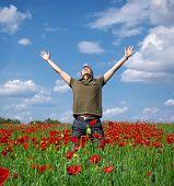 In poppy field. Emotion scene.