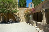 stock photo of filerimos  - Yard in the Monastery of Our Lady mount Filerimos Rhodes Greece - JPG