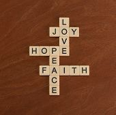 Crossword Puzzle With Words Faith, Hope, Love. Faith Concept. poster