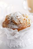 foto of pompous  - pompous  almond muffin and coffee on background - JPG