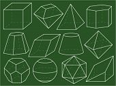 picture of octahedron  - Geometrical figures on green blackboard - JPG