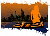 Girl DJ Silhouette on City Background