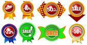 Collection of eight high detailed brand new icons with sale and retail information