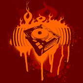 Turntable Red Graffiti. Vector Illustration. No Meshes.