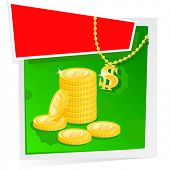 Gold, Money and Banner. Vector Illustration. No Meshes.