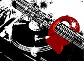 Black DJ Turntable And Red Circle Arrows