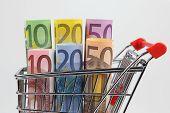 Mini shopping cart with euro banknotes on white background