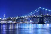 Manhattan Bridge and Manhattan skyline At Night Lights, NYC