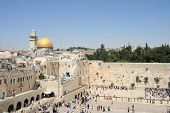 View of the Temple Mount in Jerusalem, including the Western Wall and the golden Dome of the Rock.