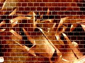 Computer designed grunge textured graffiti brick wall background