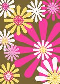 Retro Brown Pink Yellow Floral Background
