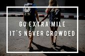Friends Travel Backpacker Journey with Quote Graphic poster