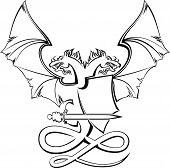 pic of armorial-bearings  - Heraldic composition with dragon - JPG