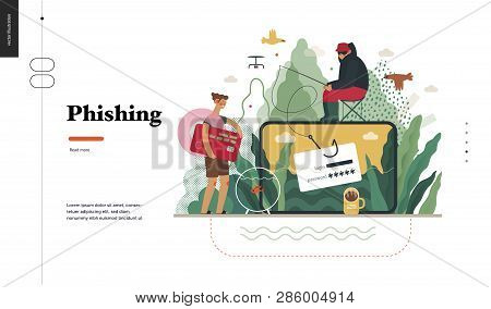 poster of Technology 2 - Phishing - Flat Vector Concept Digital Illustration Of Phishing Scam Metaphor. Hacker