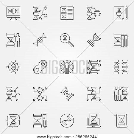 Genetics Outline Icons Set Vector