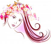 Vector illustration of beautiful girl with flowers in hair