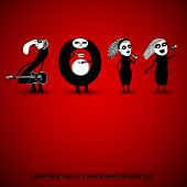 2011 New Years card with doodle number band