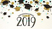 Graduation Background Class Of 2019 With Graduate Cap, Black And Gold Color, Glitter Dots On A White poster