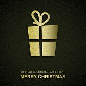 Christmas card with gold paper Christmas present, vector eps8 illustration