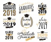 Graduation Wishes Overlays, Lettering Labels Design Set. Retro Graduate Class Of 2019 Badges. Hand D poster