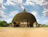 stock photo of vihara  - The Rankot Vihara or the Golden Pinnacle Dagoba in Polonnaruwa 12th century - JPG
