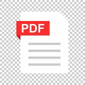 Pdf Document Note Icon In Flat Style. Paper Sheet Vector Illustration On Isolated Background. Pdf No poster