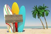 Tourism And Travel Concept. Colorful Summer Surfboards With Blank Wooden Direction Signbard In Tropi poster