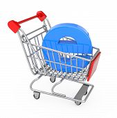 E-commerce Concept. Shopping Cart Trolley With Blue Letter E As Electronic Commerce On A White Backg poster