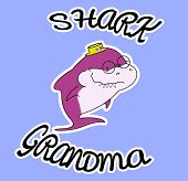 Family Sharks. Grandma Shark. In A Straw Hat With Flowers. Cute Cartoon Purple Character With Eyegla poster
