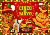 Cinco De Mayo Mexican Holiday Greetings Poster With Food And Decorations. Vector Mexico Fiesta Cinco poster