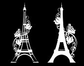 Paris City Eiffel Tower With Rose Flowers And Butterfly - White Vector Silhouette Over Black poster