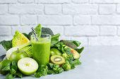 Green Smoothie With Vegetables For Healthy, Raw, Vegan Diet poster