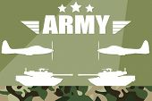 Military Vector Illustration. Military Silhouettes Background. Army And Air Force Vehicles. Army Bac poster