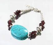 Turquoise And Amethyst Silver Bracelet
