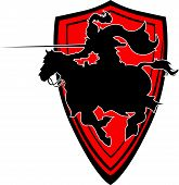 Jousting Knight Vector Silhouette Mascot On Horse